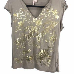 4/$20 MECCA Femme Vintage Shirt Gold Letter Print